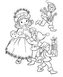 free printable coloring pages of elves give gift to kids christmas elf print coloring pages free printable