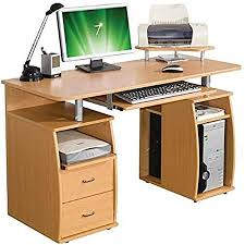 Oak Effect Computer Desk New Wooden Oak Effect Computer Desk Home Office Pc Desktop Work