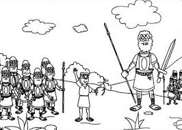 david and goliath the battle elah valley coloring page free bebo