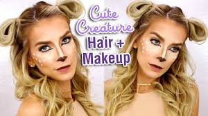 last minute halloween hair makeup tutorial deer costume makeup