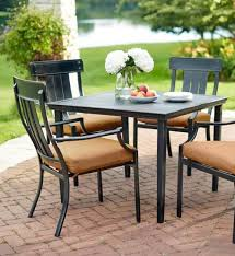 Square Patio Table with Hampton Bay Oak Heights Metal Square Outdoor Patio Dining Table