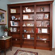 Dark Wood Bookshelves by Interior Splendid Decor For Family Room Using White Leather Sofa