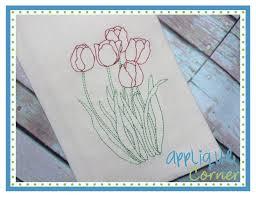 applique corner applique design tulip flowers sketch embroidery design