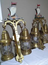 Cast Iron Wall Sconces Nautical Lantern Cast Iron Wall Sconces With Sailboat Painted Tops