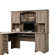 sauder harbor view desk hutch salt oak by office depot u0026 officemax