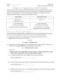 Exponential Functions Word Problems Worksheet Linear Vs Exponential Word Problems