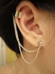 earring with chain to cartilage cartilage earrings uploaded by grace on we heart it