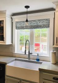 what is a shade of white for kitchen cabinets faux shade valance in lotus italian denim print custom made fully lined blue and white kitchen valance
