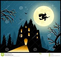 blue halloween background halloween background with witch flying through a moonlit sky stock