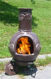 Cast Iron Outdoor Fireplace by Exterior Design Small Chiminea In Brown Clay With Black Iron