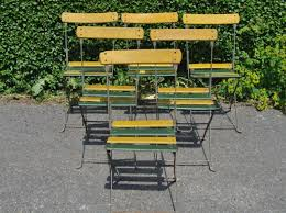 Folding Metal Outdoor Chairs G288 Set 6 Vintage French Folding Garden Patio Cafe Chairs