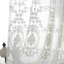 Fabric For Curtains European Embroidery White Yarn Lace High Grade Curtain Living Room