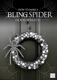Halloween Door Wreath by How To Make A Bling Spider Halloween Wreath Soiree Event Design