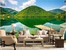 Wall Mural Wallpaper by 3d Wallpaper Custom Photo Green Mountains And Green Lakes