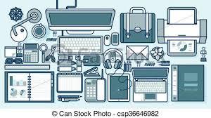 fournitures bureau en ligne gadgets style bureau bureau fournitures papeterie vecteur