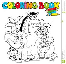 charming design coloring book animals with cute 1 stock image