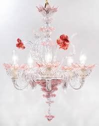 Crystal Glass Chandelier Murano Pink Rose And Crystal Glass Chandelier Jean Marc Fray