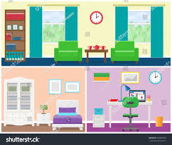 interiors living room bedroom office place stock vector 557864530
