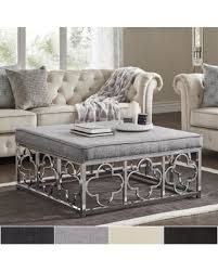 Quatrefoil Table L Amazing Deal On Solene Chrome Quatrefoil Base Square Ottoman