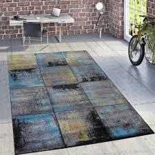 Wohnzimmer Gelb Blau Designer Teppich Rost Optik Mehrfahrbig Alle Teppiche