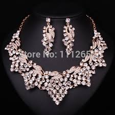 bridal jewelry necklace earrings images New fashion pink rhinestone bridal jewelry sets necklace earrings jpg