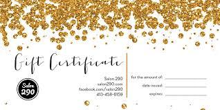 salon gift cards gift certificate salon 290