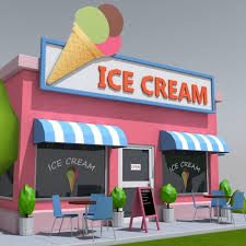 low poly ice cream shop 3d model cgtrader