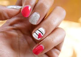 heart on stripes nail art tutorial step by step moonshine and