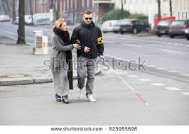 Blind People Stick Young Woman Assisting Blind Man White Stock Photo 625955696