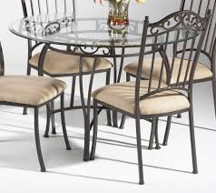 iron dining room chairs kitchen table round glass top sets concrete wrought iron 8 seats