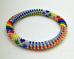 made bracelet images Multi colored rainbow beads crocheted nepal bracelets made with jpg
