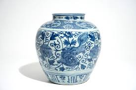 Blue And White Vase A Chinese Blue And White Vase With Buddhist Lions And Peonies