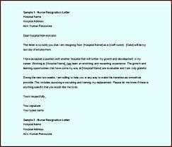 download sample nurse resignation letter word doc template