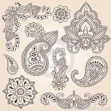 doodles mehndi tattoo design elements set