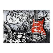 Guitar Area Rug Guitar Rock Band By Julee 5 X7 Area Rug By Listing Store