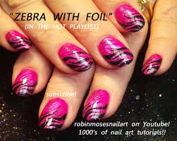 pink foil nails with black zebra tips nail art design tutorial