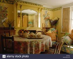 dining room murals flower murals on the walls of pastel yellow dining room with