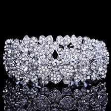 crystal rhinestone cuff bracelet images Fashion bridal jewelry silver plated wide cuff bangles with jpg