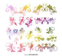 floral and swirls shape ornaments vector