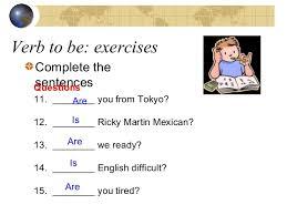 verb to be positive negative interrogative