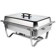 8 qt stainless steel rectangular folding chafer set