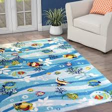 Fish Area Rug Beachcrest Home Chamberlin Blue Tropical Fish Area Rug Reviews