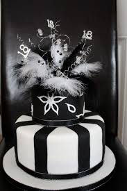 elegant 18th birthday cake in black and white with feathers to add