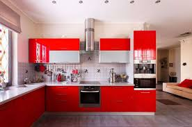 Kitchen With Red Appliances - modern kitchen with black appliances stainless steel appliance
