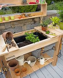 gardening bench potting bench cedar potting table with soil sink and shelves