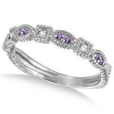 rings with amethyst images Vintage stackable diamond amethyst ring 14k white gold 0 15ct jpg