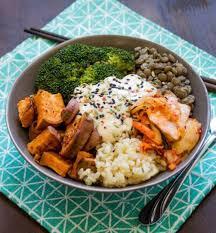 cuisiner patate douce poele buddha bowl au riz brocoli patate douce et lentilles recettes de