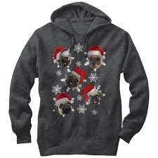 pug sweater lost gods sweater pug snowflakes mens graphic