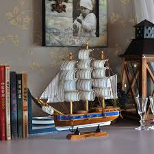 boat decor for home 30cm wooden ship model nautical decor home crafts miniatur marine