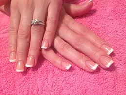 classic french acrylic nails like this but slightly more
